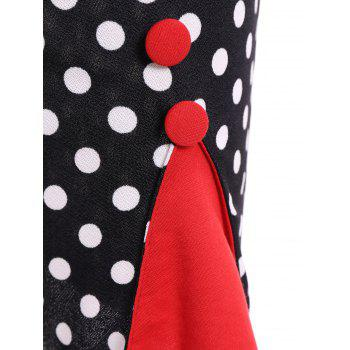 Contrast Trim Polka Dot Mermaid Dress - M M