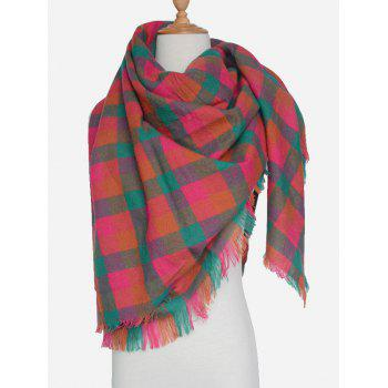Outdoor Plaid Pattern Fringed Shawl Scarf