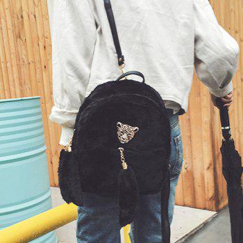 Metallic Embellished Faux Fur Backpack - BLACK