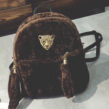 Metallic Embellished Faux Fur Backpack
