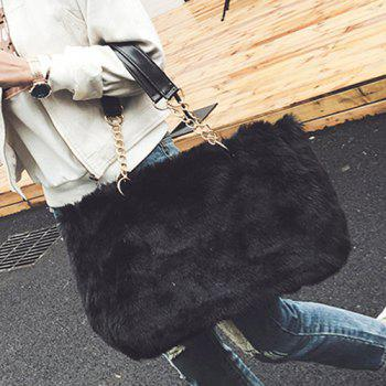Faux Furry Chains Shoulder Bag