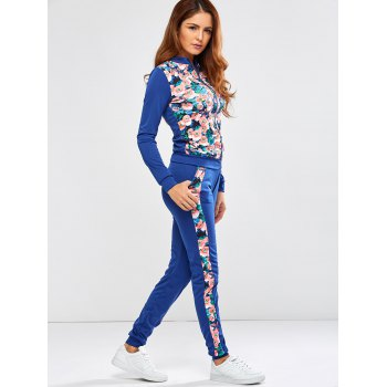 Floral Printed Jacket Jogger Pants Sports Suits - S S