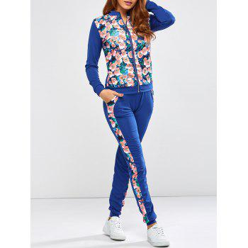 Floral Printed Jacket Jogger Pants Sports Suits - BLUE S