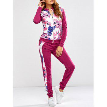 Floral Print Jacket Jogger Pants Sports Suits - PURPLISH RED L