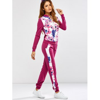 Floral Print Jacket Jogger Pants Sports Suits - L L
