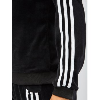 Striped Trim Hoodie with Running Jogger Pants - BLACK 2XL
