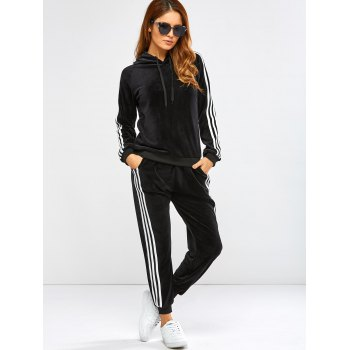 Striped Trim Hoodie with Running Jogger Pants - BLACK BLACK
