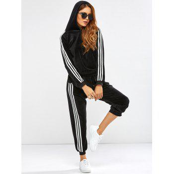 Striped Trim Hoodie with Running Jogger Pants