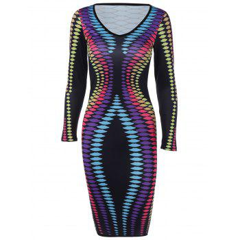 V Neck Long Sleeve Print Sheath Dress