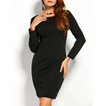 Back Zipper Long Sleeve Fitted Dress
