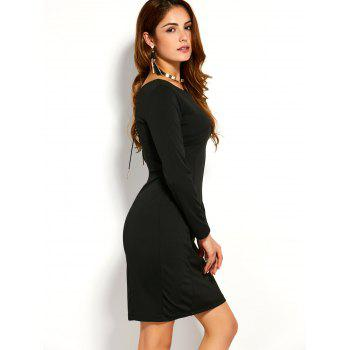 Back Zipper Long Sleeve Fitted Dress, BLACK, L in Bodycon Dresses ...