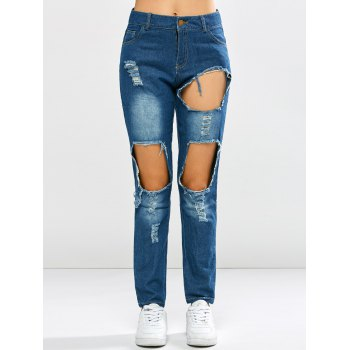 Bleach Wash Broken Hole Jeans - DENIM BLUE XL