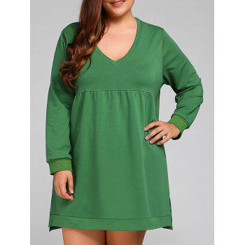 Plus Size V Neck Side Slit Dress