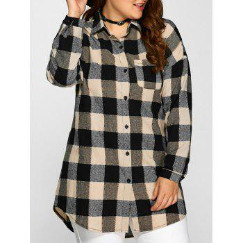 Plus Size Plaid Long Shirt