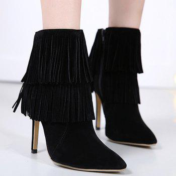 Pointed Toe Multi Fringe Boots