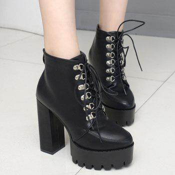 Punk Lace Up Platform Ankle Boots