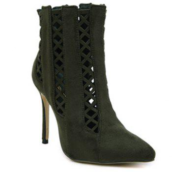 Hollow Out Pointed Toe Ankle Boots
