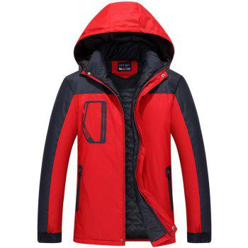 Hooded Zippered Two Tone Padded Jacket