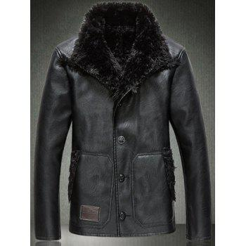 Button Up Sherpa Faux Leather Jacket
