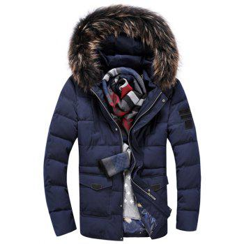 Faux Fur Hooded Pocket Front Zippered Padded Jacket