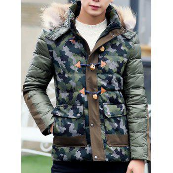 Faux Fur Hooded Camo Insert Padded Jacket - M M