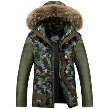 Faux Fur Hooded Camo Insert Padded Jacket - ARMY GREEN M
