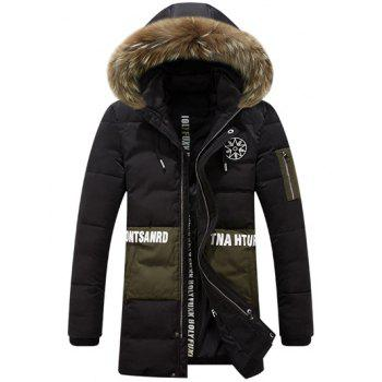 Zippered Printed Faux Fur Hooded Paneled Padded Coat - BLACK M