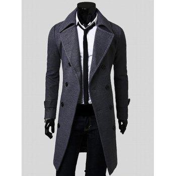 Wide Lapel Overcoat with Side Pockets - GRAY M