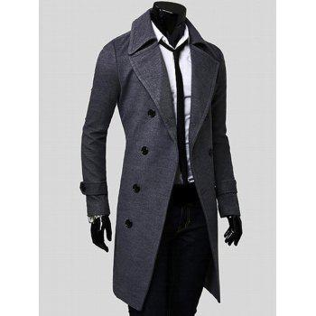 Wide Lapel Overcoat with Side Pockets - L L