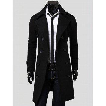 Wide Lapel Overcoat with Side Pockets - BLACK L