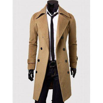 Wide Lapel Overcoat with Side Pockets - CAMEL 3XL
