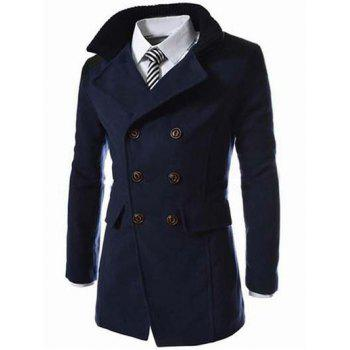 Double Breasted Knitted Collar Spliced Wool Mix Coat - CADETBLUE L