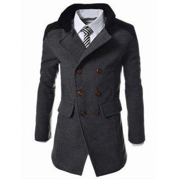 Double Breasted Knitted Collar Spliced Wool Mix Coat - DEEP GRAY M