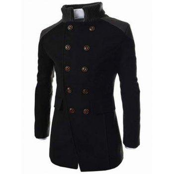 Double Breasted Knitted Collar Spliced Wool Mix Coat - L L