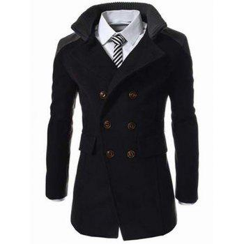 Double Breasted Knitted Collar Spliced Wool Mix Coat - BLACK L