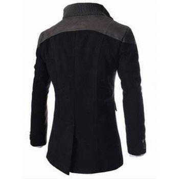 Double Breasted Knitted Collar Spliced Wool Mix Coat - 2XL 2XL