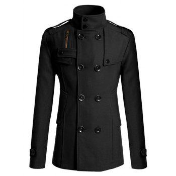 Double Breasted Epaulet Design Spliced Wool Mix Coat
