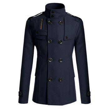 Double Breasted Epaulet Design Spliced Wool Mix Coat - CADETBLUE L