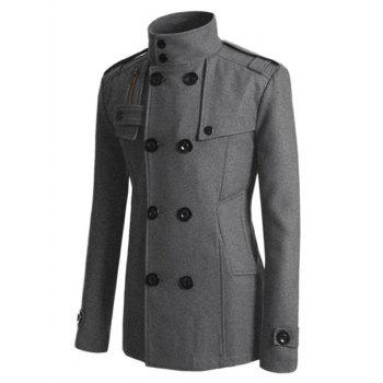 Double Breasted Epaulet Design Spliced Wool Mix Coat - XL XL