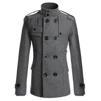 Double Breasted Epaulet Design Spliced Wool Mix Coat - DEEP GRAY XL
