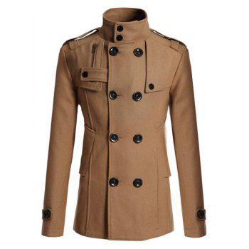 Double Breasted Epaulet Design Spliced Wool Mix Coat - CAMEL L