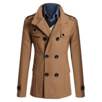 Double Breasted Epaulet Design Spliced Wool Mix Coat - CAMEL CAMEL