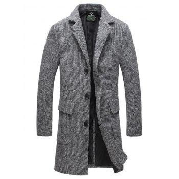 Flap Pocket Lapel Collar Tweed Wool Mix Coat - GRAY L