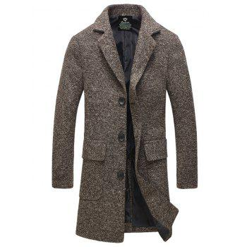 Flap Pocket Lapel Collar Tweed Wool Mix Coat - COFFEE 3XL