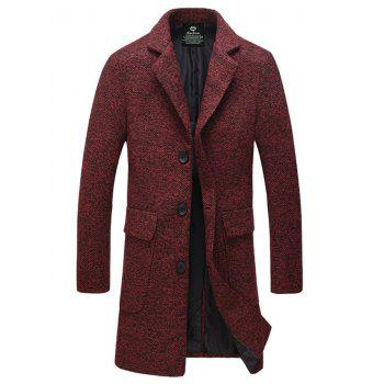 Flap Pocket Lapel Collar Tweed Wool Mix Coat - DARK RED 4XL