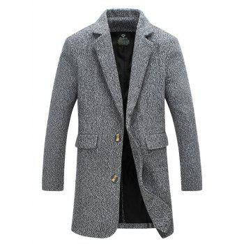 Lapel Collar Flap Pocket Tweed Wool Mix Coat - LIGHT GRAY L