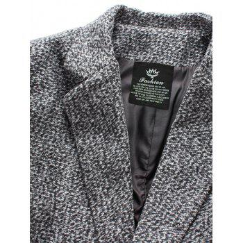 Lapel Collar Flap Pocket Tweed Wool Mix Coat - M M
