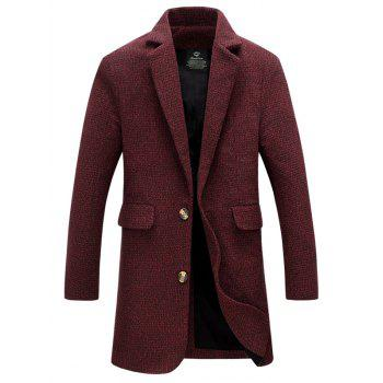 Lapel Collar Flap Pocket Tweed Wool Mix Coat - DARK RED M