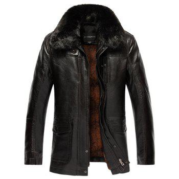 Faux Fur Collar Plus Size Flocking PU Leather Jacket