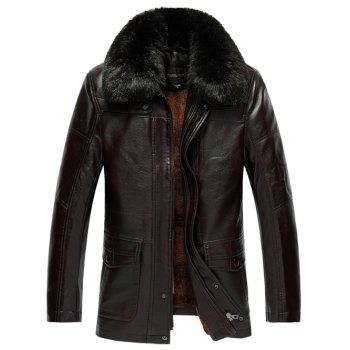 Faux Fur Collar Plus Size Flocking PU Leather Jacket - COFFEE BROWN 3XL